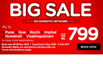 Air Asia Big Sale Offer : Air Asia 799 Offers : Flights @ Rs.799 : 23 - 29 Nov