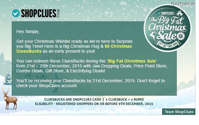 Shopclues Free Rs.50 Cluebucks