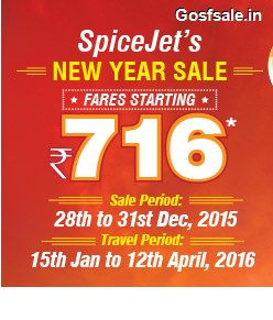 Spicejet New Year Sale : Spicejet Rs.716 Flights - 28th - 31st Dec 2015