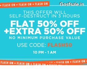 Jabong Flash50 Sale : Clothing & Accessories 50% off + 50% off + 1% off