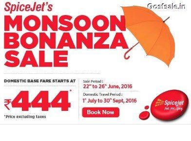 Spicejet 444 Offer : Spicejet Monsoon Bonanza Sale : Rs.444 Flight Tickets