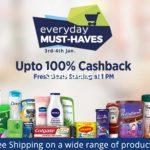 Everyday Must Haves 100% Cashback – PayTm 100% Cashback Offer