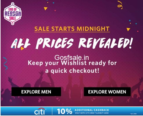 Myntra End of Reason Sale - End of Reason Sale - 3rd Jan - 5th Jan : Flat 80% off
