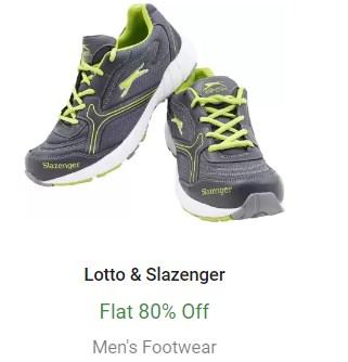 Flat 80% Off on Lotto & Slazenger Men's Footwear - Flipkart Big 10 Sale