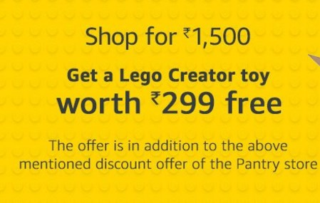 Amazon Pantry upto 50% off + Rs. 100 off on Rs. 1000, Lego Creator Chameleon + Rs. 300 off on Rs. 2000