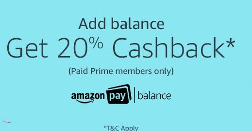 Amazon Pay Balance Top-up 20% Cashback on Rs. 500