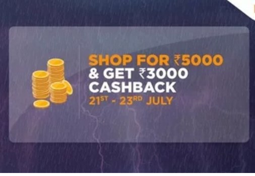 Shop for Rs.5000 & get Rs.3000 cashback at Big Bazaar (21ST - 23RD JULY)