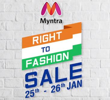 Myntra Republic Day Sale 2018 : Right to Fashion Sale | 25 - 26 Jan Sale : Upto 80% Off