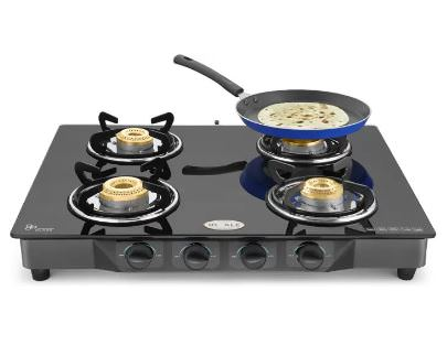 Ideale Quatre-T Steel Manual Gas Stove  (4 Burners) @ Rs.1999 ( 76% off ) - Flipkart