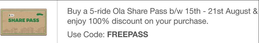 Ola Share Pass 15th August offer