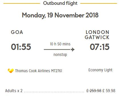 Goa To London For £29.99 ( Rs.2820 ) ( 19th Nov 2018 ) - Thomas Cook Airlines