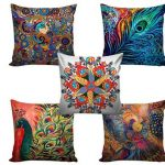 CREATIONS Canvas Digital Printed Jute Cushion Cover - Set of 5 @ Rs.345