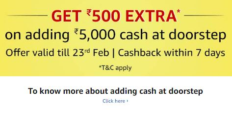 Cash Load Rs. 500 Cashback on Rs. 5000 – Amazon
