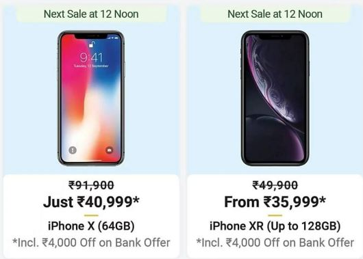 Apple iPhone X @ Rs.44999 - Apple iPhone X Big Billlion Day Sale - iPhone X Lowest Price