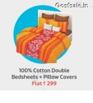 100% Cotton Double BedSheets + Pillow Covers @ Rs.299 only – Flipkart Big App Shopping Days
