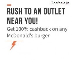 100% cashback on Any Burger at McDonald's outlets ( West & South India ) – Freecharge