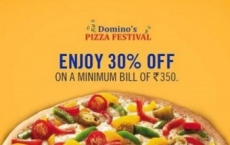 Dominos Pizza 50% off on Rs. 350 + 30% Cashback