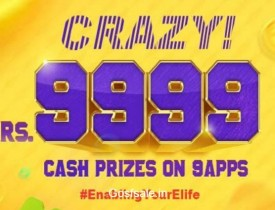 9Apps Rs.9999 Cash Prizes : 9Apps Crazy 9999 – 9Apps Code