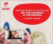 Airtel Night Cashback Offer : 50% Cashback on Night Internet – Airtel Cashback Offer