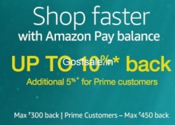 Amazon 15% Cashback (Prime Members) or 10% Cashback on Purchase of Rs. 100