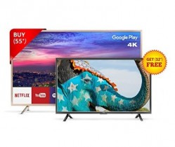 Amazon Blockbuster Offer – TCL 139.7 cm (55 inches) L55P2MUS Android M 4K UHD LED Smart TV (Gold) + FREE TCL 81.28 cm (32 inches) L32D2900 HD Ready LED TV @ Rs.59,990