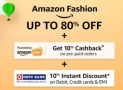 Amazon Fashion 10% off on Rs. 3000 + 10% Cashback on Rs. 5000