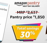 Amazon Pantry upto 50% off + 10% Cashback on Rs. 1000, 15% Cashback on Rs. 2000