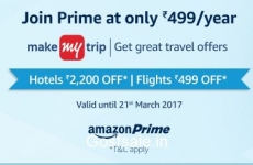 Amazon Prime Annual Membership + MakeMyTrip Hotels Rs. 2200 off + Flights Rs. 499 off Rs. 499 – Amazon