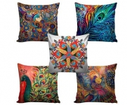 CREATIONS Canvas Digital Printed Jute Cushion Cover – Set of 5 @ Rs.345