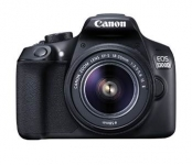 Canon EOS 1300D 18MP Digital SLR Camera (Black) with 18-55 and 55-250mm IS II Lens, 16GB Card and Carry Case @ Rs.28990