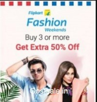 Clothing, Footwear & Accessories upto 70% off + Buy 3 Get 50% off – FlipKart