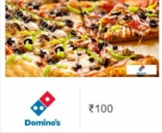 DOMINO50 Promo Code : Dominos Instant Voucher worth Rs. 100 for Rs. 50 – Amazon