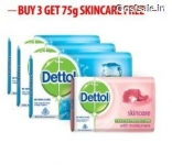 Dettol Cool Soap – 125 gm (Pack of 3) + Dettol Skincare 75 gm Free @ Rs.118 – Snapdeal