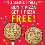 Dominos Friday Offer : Dominos Pizza Buy 1 Get 1 Free + 15% Cashback