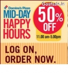 Domino's Happy Hours : Flat 50% off on Rs.300 + 15% Cashback