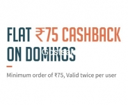 Dominos Rs. 75 Cashback on Rs. 75 : Freecharge Dominos Offer