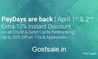 FlipKart Pay Days – Upto 50% off on TVs, Appliances & Electronics.