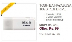 GET 16GB Pendrive For Just Rs.99  – First Order on Ebay – TOSHIBA 16GB Pendrive ( Last Day to Register )