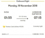 Goa To London For £29.99 ( Rs.2820 ) ( 19th Nov 2018 ) – ThomasCook Airlines