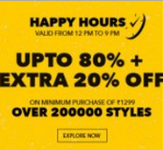 Clothing, Footwear, Accessories, Beauty & Home Furnishing upto 80% off + 20% off on Rs. 1299 + 1% off – Jabong