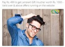 Rs. 1000 LensKart Gift Voucher + Rs. 120 Cashback Rs. 399, Rs. 2000 LensKart Gift Voucher + Rs. 200 Cashback Rs. 799 – Groupon