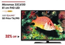 Micromax 32C6150 81 CM FHD LED Rs.16990 – Snapdeal Electronics Monday