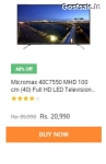 Micromax 40C7550 MHD 100 cm (40) Full HD LED Television @ Rs.20990 ( 48% Off ) – Snapdeal