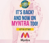 Myntra Big Billion Days : 13th – 17th October : Upto 80% off on Myntra