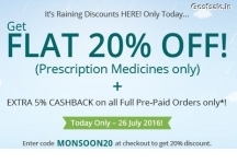 NetMeds Big Monsoon Sale – Flat 20% off on Medicines + 5% Cashback : Netmeds