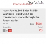 Pay Rs.501 & Get Rs.550 Paytm Cashback : NearBuy Paytm Offer ( Live Again )