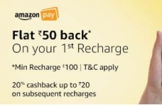 Prepaid Mobile Recharge Rs. 50 Cashback on Rs. 100 – Amazon