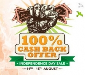 Shopclues Independence Day Sale : 100% Cashback Sale : Independence Day Offers