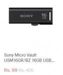 Snapdeal Loot : Sony Micro Vault 16GB Pen Drive @ Rs.99 – Snapdeal
