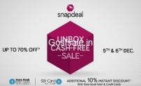 Snapdeal Unbox Cash-Free Sale :  5th to 6th Dec 2016
